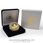 U.S. Capitol Commemorative Gold Coin and Medallion in President Seal Wood Display Case from the Only Original Official White House Gift Shop, Est. 1946 by Permanent Order of President Harry S. Truman and members of U.S. Secret Service.