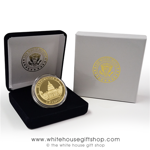 U.S. Capitol Commemorative Gold Coin and Medallion in Seal of President Velvet Display Case from the Only Original Official White House Gift Shop, Est. 1946 by Permanent Order of President Harry S. Truman and members of U.S. Secret Service.