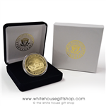 Quality Gold White House Challenge Coin, Presidential Seal on back of coins, premium copper core, gold, blue, red, in custom Velvet Case, White House Custom gold imprint on velvet case and outer presentation case, Official White House Gift Shop est 1946.