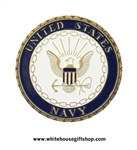 "U.S.N. Navy Challenge coin, brass and enamel Challenge Coins, plastic case, Navy Seal, Engravable, 1.5"" diameter, from Original Official White House Gift Shop since 1946, started by the Secret Service from Presidential Order."