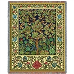 William Morris Tree of Life Blanket Throw, 100% Cotton, Made in America