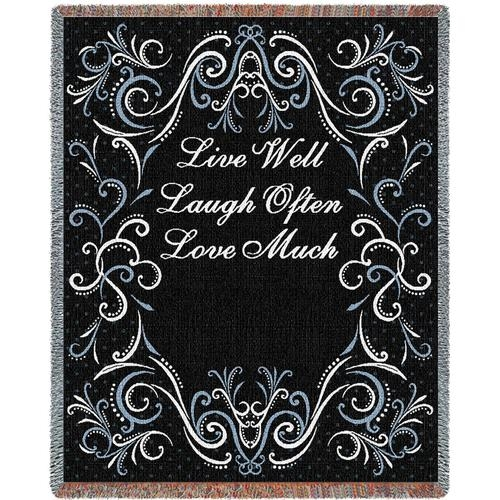 Live, Laugh, Love Black Throw Blanket