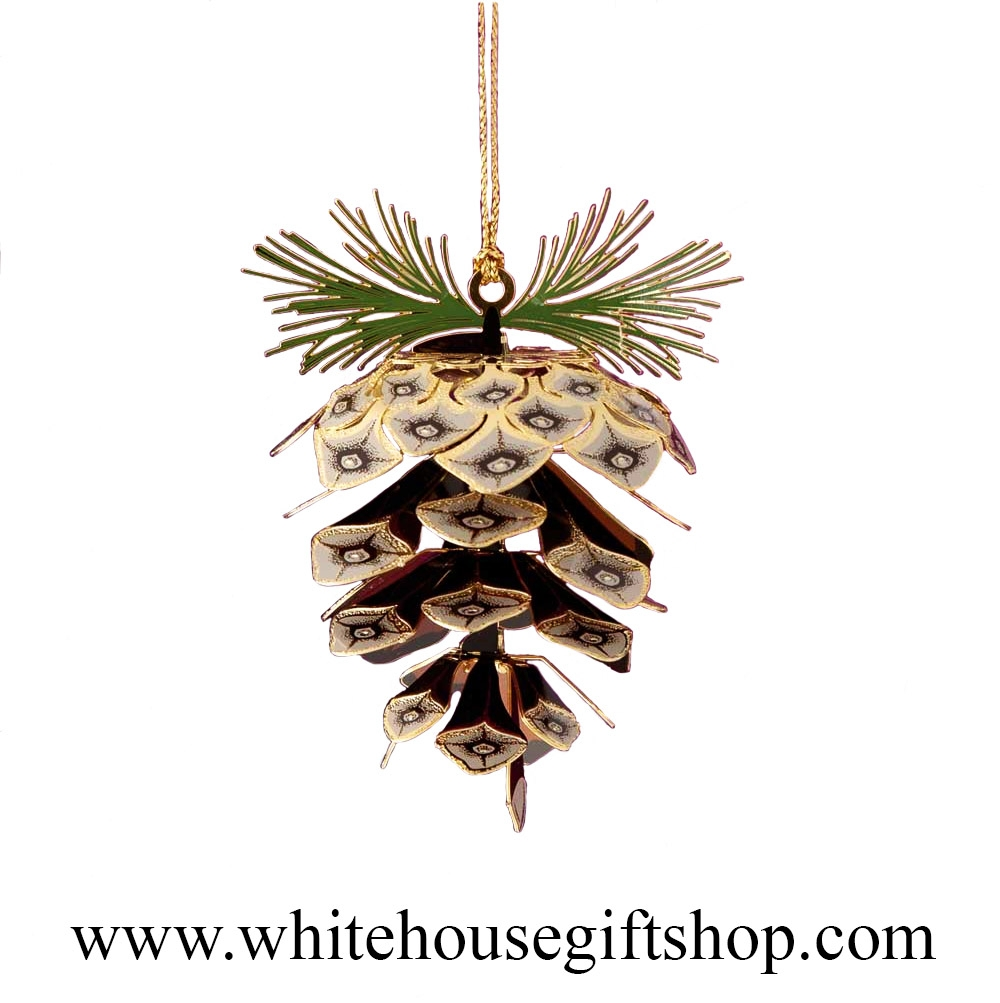 Charming Pine Cone White House Ornament