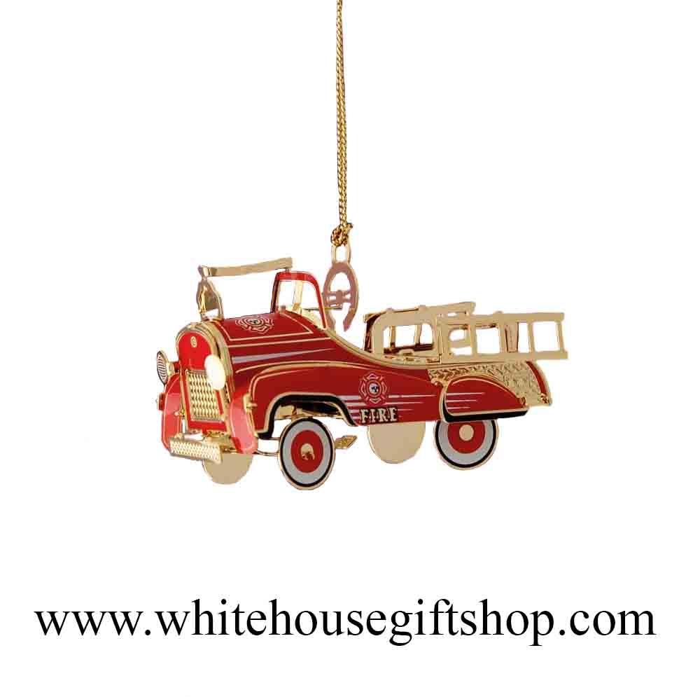 Americana christmas ornaments - Fire Truck Christmas Ornament Pedal Firetruck Ornament 3 D 24kt Gold Plated White House Gift