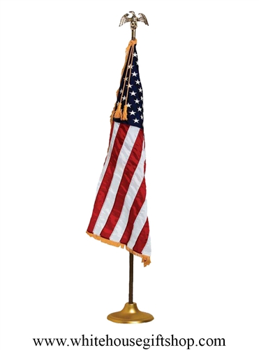 Embroidered U.S. banner flag with Fringe