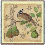 Partridge and Pear Tree Tapestry Throw Blanket SALE