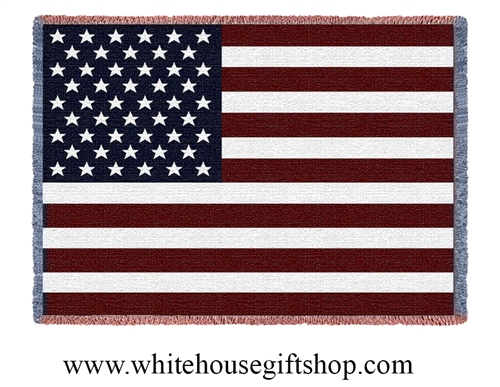 American Flag Mini Lap all Luxury Cotton Blanket throw, made in the USA, from  Official White House Gift Shop