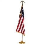 Embroidered U.S. banner flag made in America, with Fringe, high gloss nylon , sewn stripes, embroidered stars, pole hemmed
