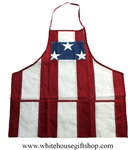 White House Patriotic Apron, Made in USA, Pockets