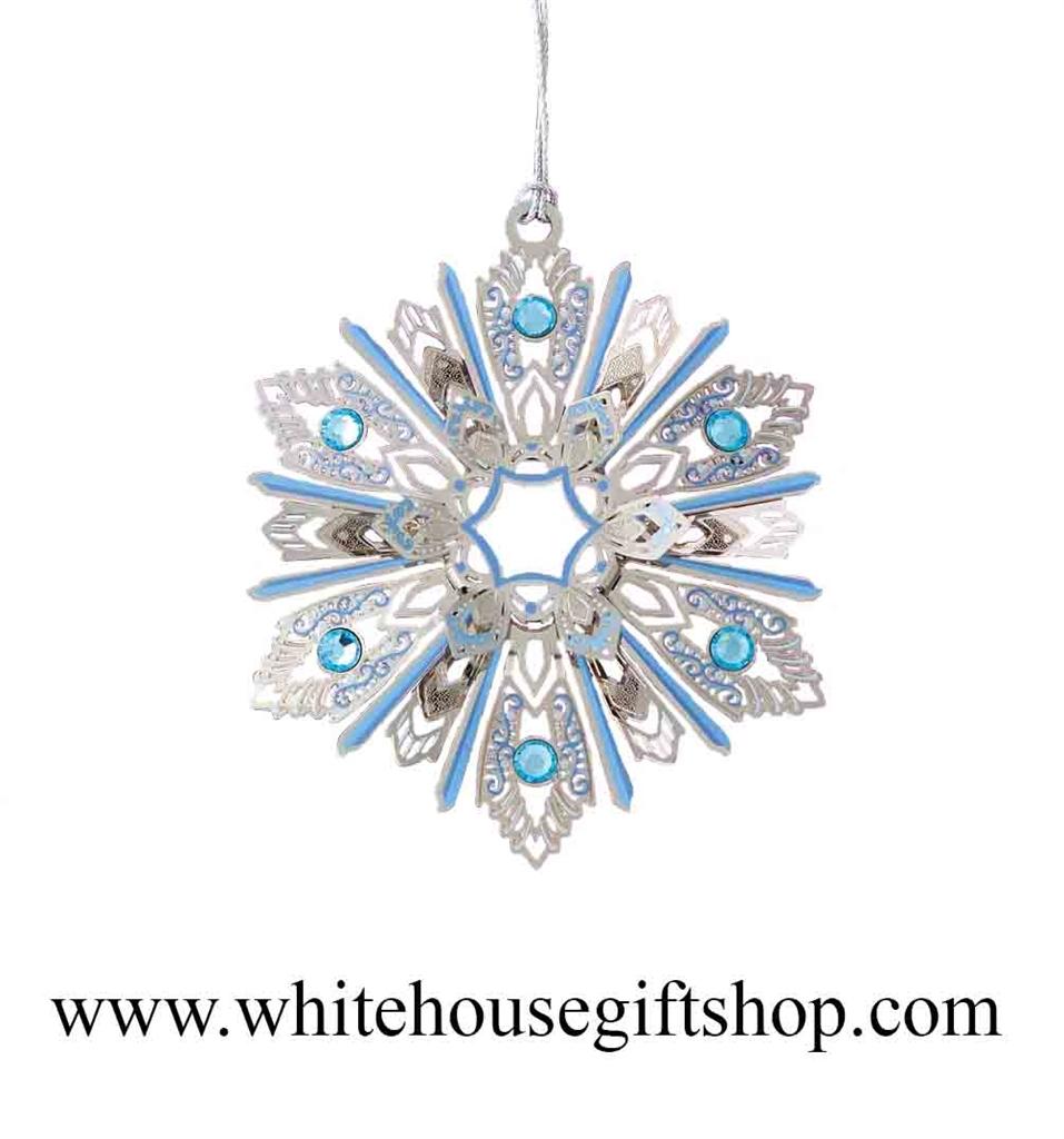 Snowflake shaped pewter US PRESIDENT BARACK OBAMA Christmas ornament in gift box