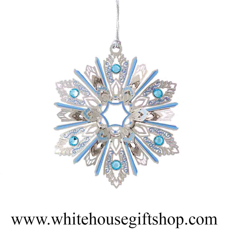 Jeweled Snowflake Ornament 3 D Silver Finish White House Gift Shop Made In Usa