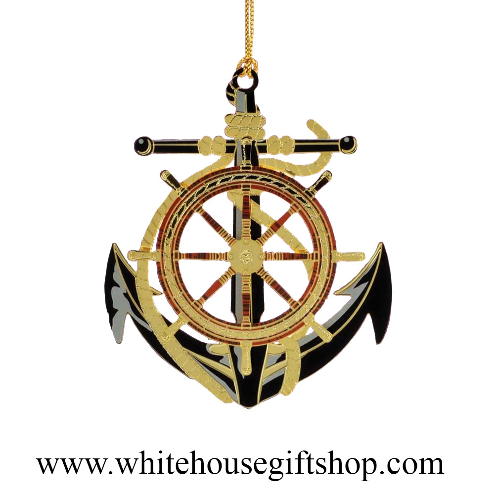 Anchor ornaments - Anchor And Wheel Ornament 3 D 24kt Gold Plated White House Gift Shop Made In Usa