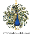 Beautiful Peacock White House Gift Shop Christmas Ornament
