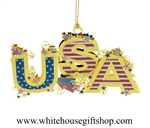 USA Americana White House Gift Shop Christmas Ornament