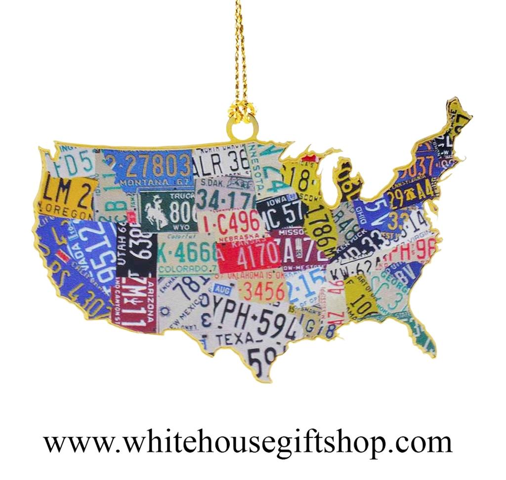 Us Map Made Out Of License Plates.Usa License Plate Map Ornament 3 D 24kt Gold Plated Americana