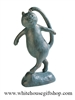 "Cat's Meow 8"" Bronze Patina Verdigris Whimsical Statue, Quality Finish"