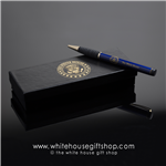 The White House Seal President' Pen, Cobalt Blue, 22-Karat Gold Trim, Comfort Grip, Laser Etched, White House Gift Shop, Presentation Boxed. Designed by Artist Anthony Giannini.