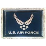 US AIR FORCE CHEVRON Throw & Blanket, MADE IN AMERICA, 100% COTTON