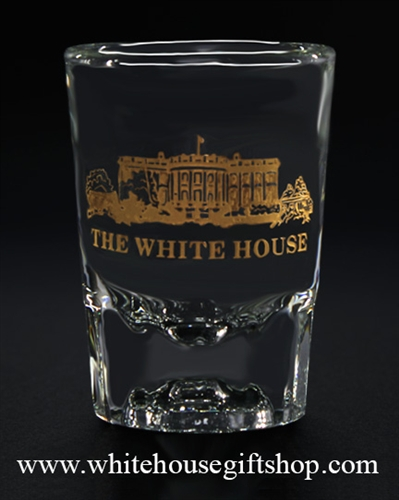The White House Gold Etched Shot Glass, custom from the White House Gift Shop Presidential Glass collection.