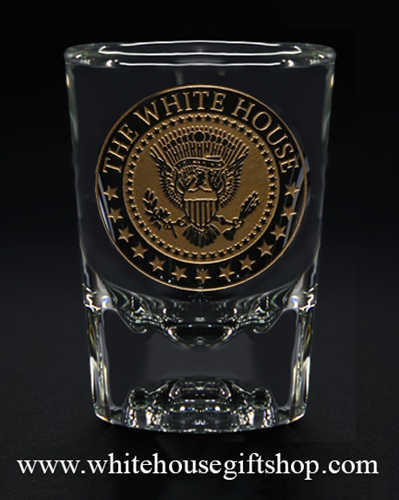 Presidential White HouseSeal Gold Etched Shot Glass  custom from The Official White House Gift Shop since 1946, from the Presidential glass collection, Washington D.C.