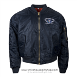 President Bomber Air Force One Presidential Crew Style Flight Jacket MA-1, Navy Blue