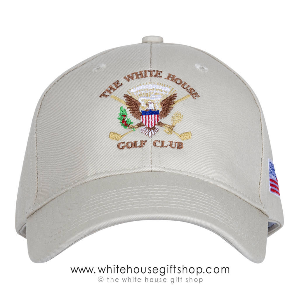 Hats, WHITE HOUSE GOLF CLUB, Exclusive Design, Presidential Seal,  STRUCTURED Cotton Twill, Made in the USA, Stone Color Hat, Embroidered,  Flag on Side
