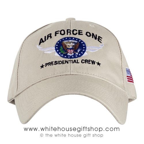 Air Force One Beige Hat, Made in USA cap, Cotton Embroidered, Presidential Seal, USAF, American Flag on side