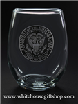 White House Glassware Sets,  Presidential Seal,,Etched ,Set of 2 Stemless Wine Drinking Glasses from White House Gift Shop Est 1946, Made and Etched in America, Made in USA