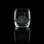 Air Force One Presidential glass set, White House glassware collection, quality the rocks style glasses, clear etched, made in the USA, lead free, dishwasher safe, Eagle Seal of the President, from official White House Gift Shop since 1946