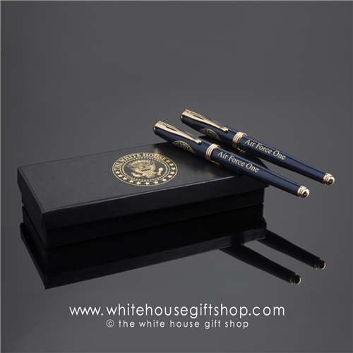 air-force-one-seal-of-the-president-ink-pen-navy-blue-24-karat gold trim-white house gifts-gift shop-design by artist anthony giannini