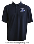 Air Force One Presidential Crew Polo Shirt, Made in USA, performance blend, quality 3 button golf shirts, Chevrons, White House Gift Shop President Collection, authentic custom American made, embroidered, navy blue, wrinkle resistent