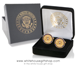 Air Force One Cufflinks, COLLECTORS ITEM, Presidential Guest Style, 24KT Elegant Gold Finish, Raised Presidential Seal with Fine Detail, Designed for former President,  Gold Seal Jewelry Case with Gift Box