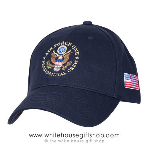 Air Force One Presidential Crew Hat, Hats, Caps, Made in USA, 100% Cotton, made in America, USA Flag on Side, President Trump, White House official gift shop, military and Washington DC gifts,