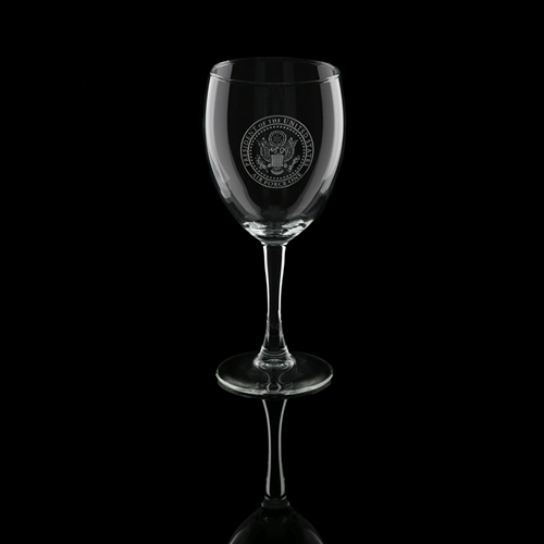 Presidential Air Force One wine glass set of 2, with clear permanent etch of the Seal of the President and AF1, American made lead free glasses, custom designed for the original official White House Gift Shop, since 1946.