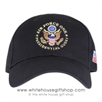 Air Force One Presidential Guest Hat, Made in the USA, American flag on side, black, structured cotton, USAF, Embroidered ,Great Seal of the United States, Military gifts