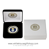 USAF, Air Force Challenge Coin, Velvet Display Case, Presentation Gift Box, Custom White House Gold Seal imprints on boxes, upgraded protective plastic case for coin, engravable, military, veteran gift.