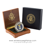 Air Force Challenge Coin, USAF, Brass & Enamel in Wood Presentation Case