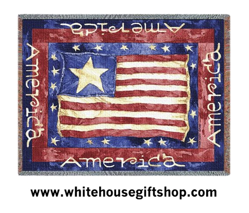 Old Glory USA Flag Throw, Blanket, Tapestry from the White House Gift Shop Americana Collection,  WHGS-773-T