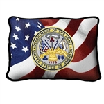 United States Army, Department of Army Seal, Small Rectangle Pillow, Made in America, American Flag, 12 by 8 inches, red, navy, gold, Made in the USA, Military Veteran Gift