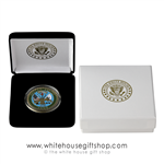 "Army USA Challenge Coins, Single 1.5"" Diameter Coin, White House Velvet Display Case, Premium 2-Piece Outer Presentation Gift Box, bronze and color enamel finish, Army Seal, from Official White House Gift Shop started by Secret Service Uniformed Division."