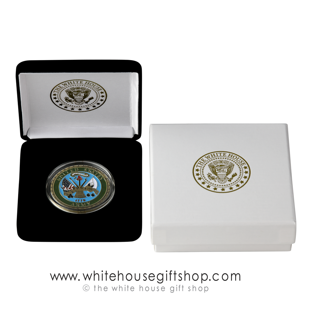 Challenge Coins, U S  Army, Brass and Enamel, Velvet Display Case now with  Outer Gift Box, White House President Seal imprint, 1 5