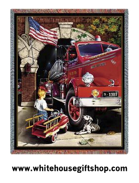 American Memories, US Firetruck Throw Blanket, SALE