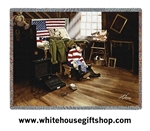 American Flag, US Army, Military Throw, Blanket, Made in USA Quality Cotton, Machine Wash and Dry, GO ARMY