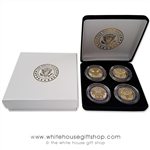 "Coins, The White House & United States Capitol Building, Great Seal on Reverse of Coins, 4 Coin Set, Black Velvet Display and Presentation Case, Front & Reverse of Coins are Displayed, 1.5"" Diameter, Premium Copper Core Detailed Gold Plated & Blue Enamels"