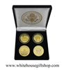 "Coins, The White House & United States Capitol Building, Great Seal on Reverse of Coins, 4 Coin Set, Blue & Gold Capitol & Gold Capitol Coins Front & Reverse,Black Velvet Display and Presentation Case, 1.5"" Diameter"