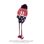 U.S. Flag Beanie Hat, Knit, Two Tassles, Ear Flaps, and Red White & Blue Pom, From the Official White House Gift Shop® Est. 1946