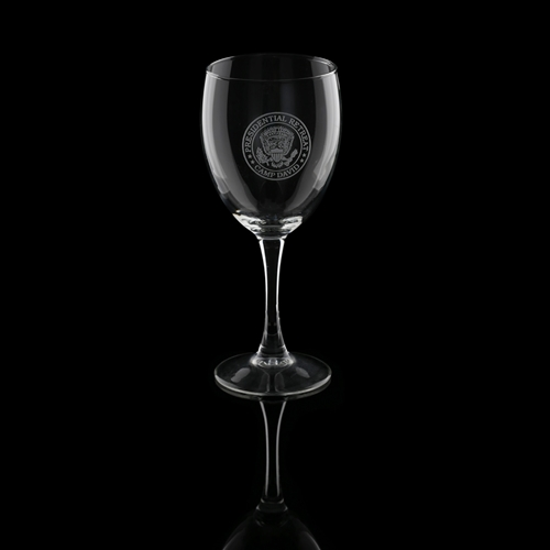Camp David Retreat wine glasses, set of 2 wine goblets, clear etched, made in USA, White House presidential glassware collection from the official White House Gift Shop, Est. 1946.