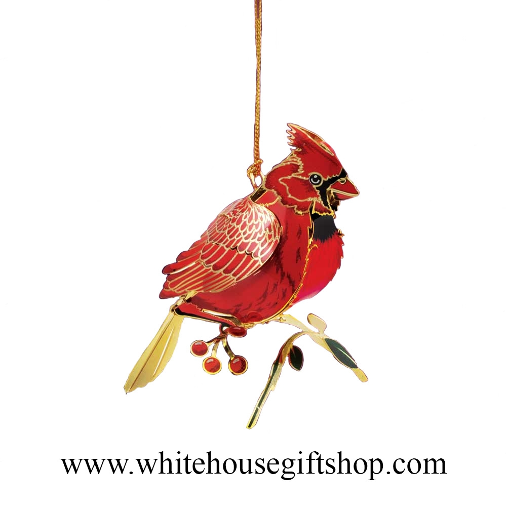 White house christmas ornaments by year - Cardinal Bird Ornament Year Round Display Summer Sale 24kt Gold Plated White House Gift Shop Made In Usa Wh52071