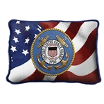 United States Coast Guard, USCG, Small Rectangle Pillow, Made in America, on American Flag, 12 by 8 inches, red, navy, blues, gold, Made in the USA, Military Veteran Gift