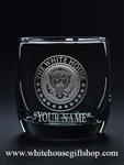 White House Seal Presidential Glass, On the Rocks, Personalized, Customized with your name, message, glasses from our President collection from White House Gift Shop since 1946, official, registered trademark, original White House Gifts.